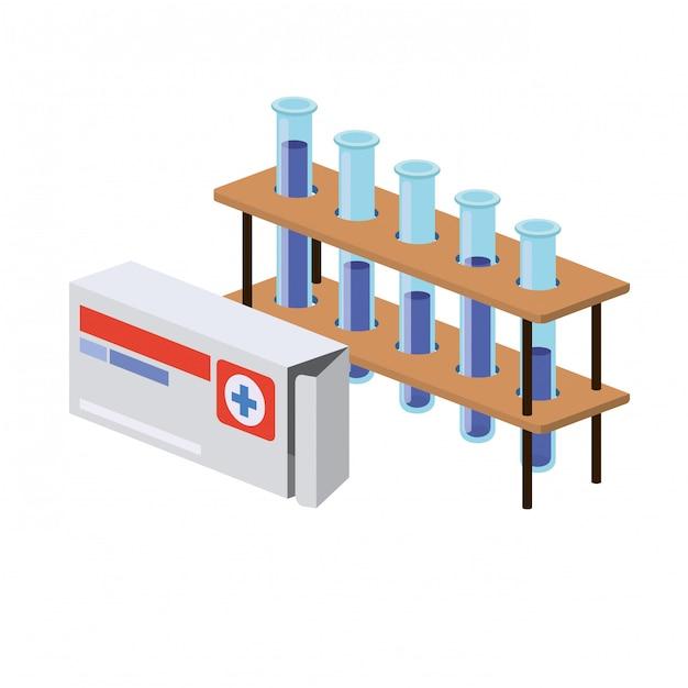 Instruments de laboratoire sur blanc Vecteur Premium