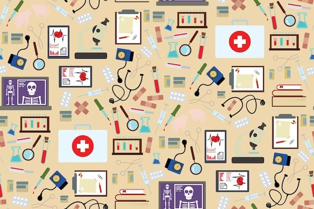 Instruments médicaux et fond de médicament dans la conception de style plat Vecteur Premium