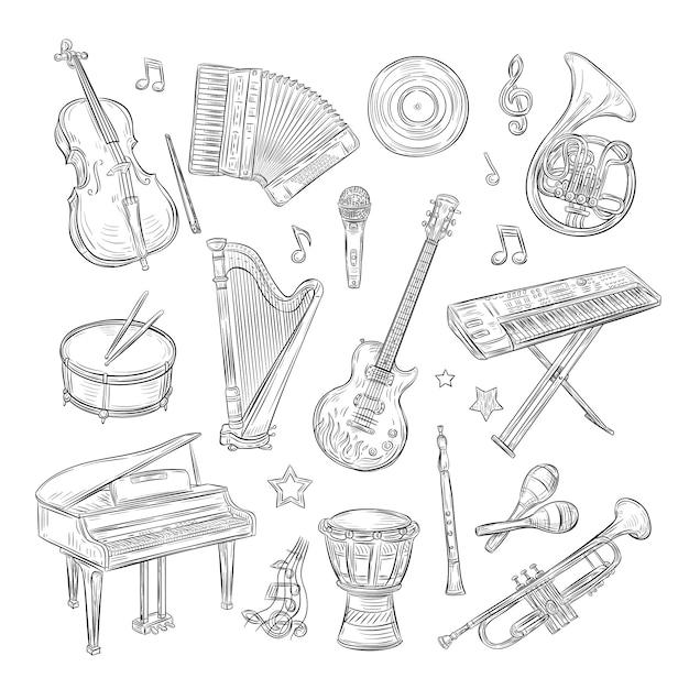 Instruments De Musique Griffonnages. Synthétiseur De Flûte à Tambour Accordéon Guitare Microphone Microphone Notes De Musique Rétro Ensemble De Croquis Dessinés à La Main Vecteur Premium