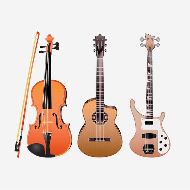Instruments de musique guitares violon acoustique Vecteur Premium