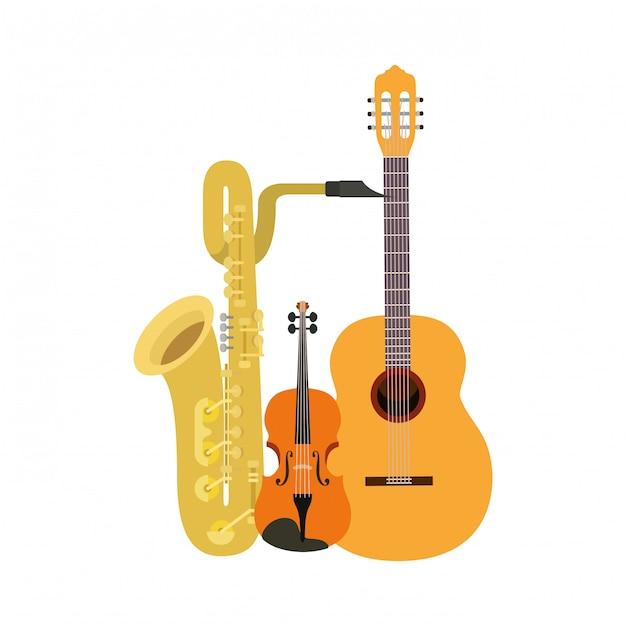 Instruments de musique isolés Vecteur Premium