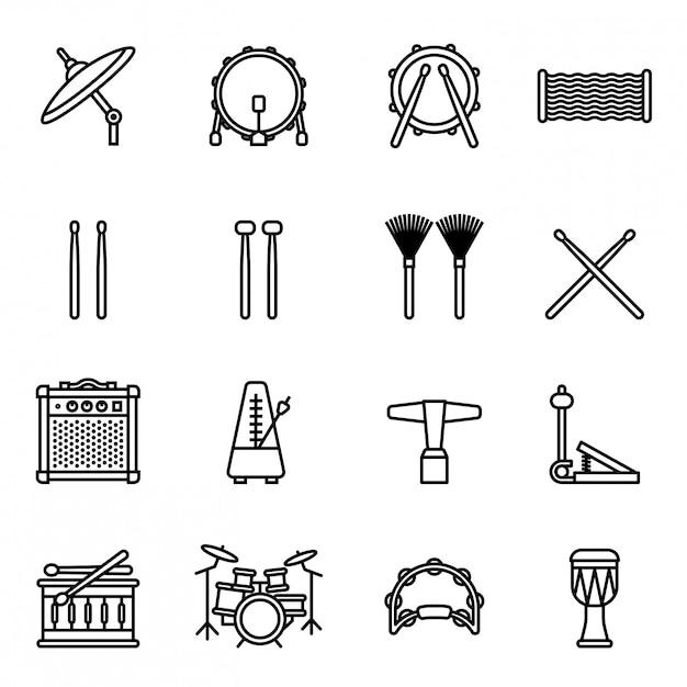 Instruments de musique: jeu d'icônes de batterie avec fond blanc. vecto stock de style thin line Vecteur Premium