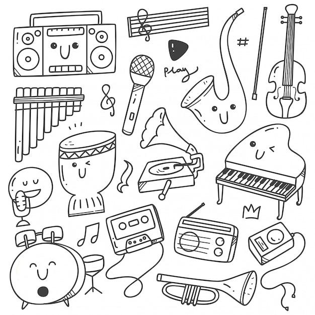 Instruments de musique kawaii doodle dessin au trait Vecteur Premium