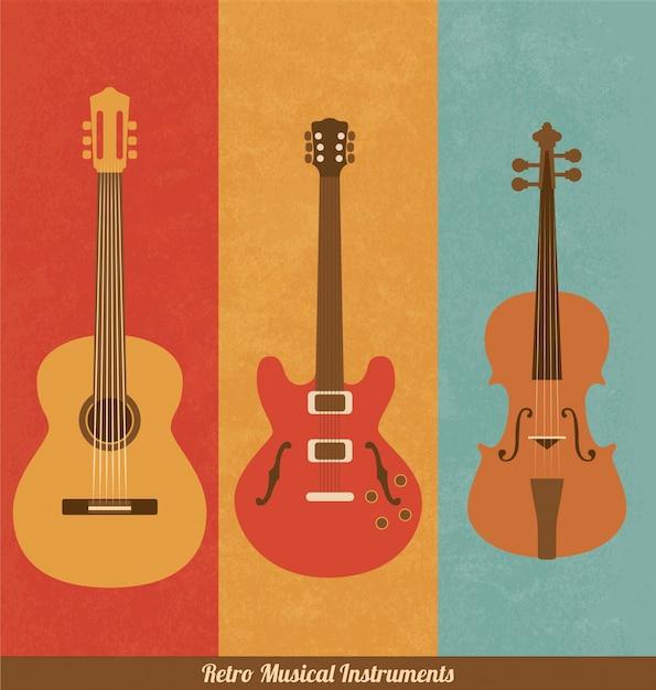 Instruments de musique rétro Vecteur gratuit