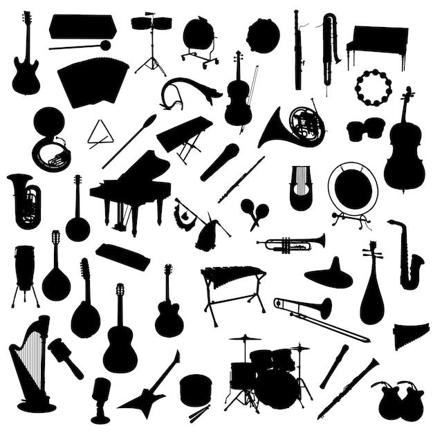 Instruments de musique silhouette clip art Vecteur Premium