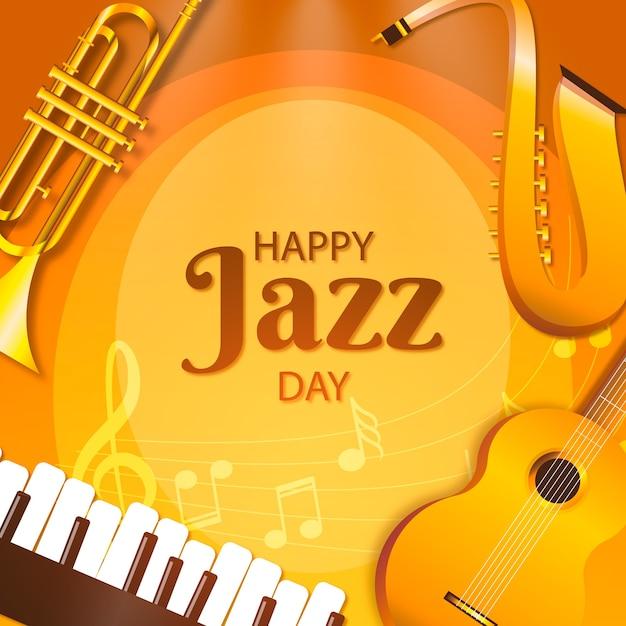 Instruments D'or Happy Jazz Day Vecteur gratuit
