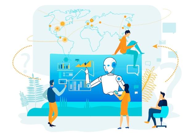 Intelligence artificielle en analyse commerciale. Vecteur Premium