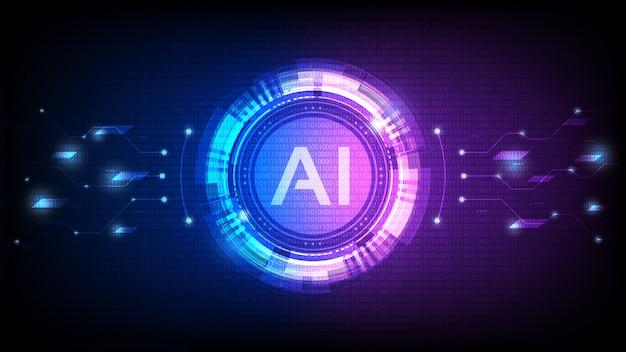 Intelligence Artificielle, Analyse Ia Avec Ligne De Circuit Vecteur Premium