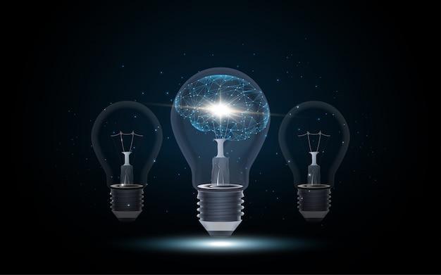 Intelligence artificielle cerveau humain à l'intérieur de l'ampoule Vecteur Premium