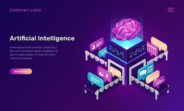 Intelligence artificielle ou concept isométrique par intérim Vecteur gratuit