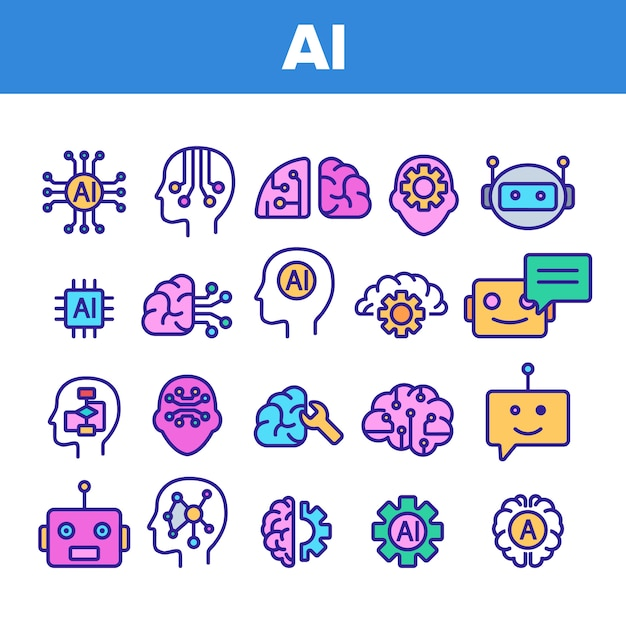 Intelligence artificielle éléments icons set Vecteur Premium