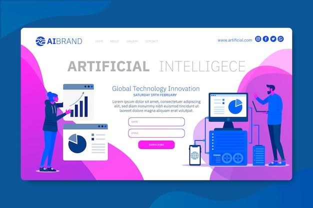 L'intelligence Artificielle Explore La Future Page De Destination Vecteur gratuit