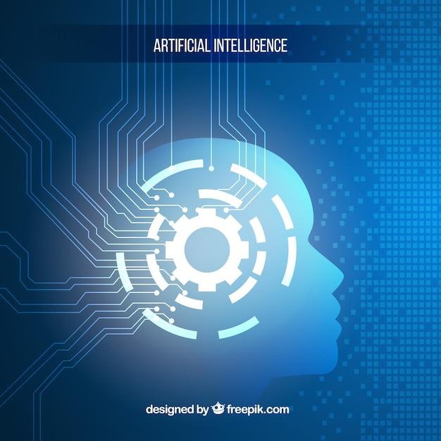 Intelligence artificielle avec fond bleu Vecteur gratuit