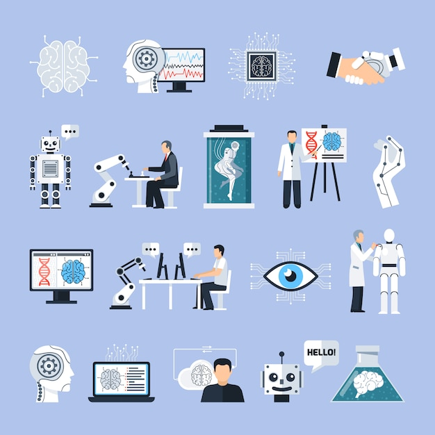 Intelligence artificielle icons set Vecteur gratuit