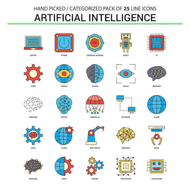 Intelligence artificielle ligne plate icon set Vecteur Premium