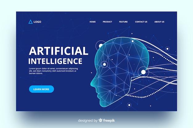 Intelligence artificielle avec page de renvoi de câbles virtuels Vecteur gratuit
