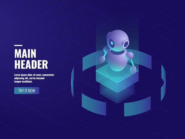 Intelligence artificielle robotique, consultation et support en ligne, technologie informatique Vecteur gratuit