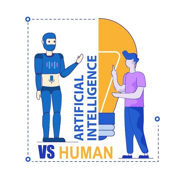 Intelligence artificielle versus compétition humaine Vecteur Premium