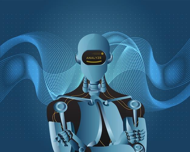 Intelligence futuriste artificielle robot avec style de fond ondulé. Vecteur Premium