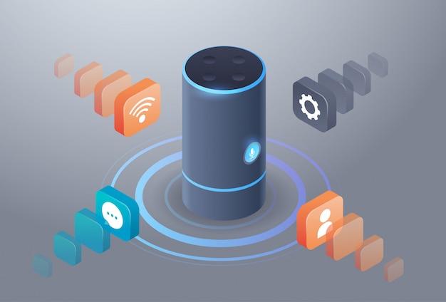Intelligent Intelligent Haut-parleur Reconnaissance Vocale Activé Assistants Numériques Automatisé Commande Rapport Concept 3d Isométrique Vecteur Premium