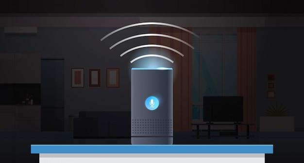 Intelligent Intelligent Haut-parleur Reconnaissance Vocale Activé Assistants Numériques Automatisé Commande Rapport Concept Moderne Appartement Cuisine Salon Intérieur Plat Horizontal Vecteur Premium