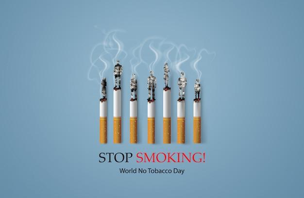 Interdiction De Fumer Et Journée Mondiale Sans Tabac Vecteur Premium