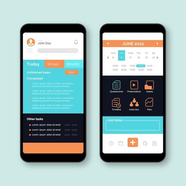 Interface De L'application De Gestion Des Tâches Vecteur gratuit