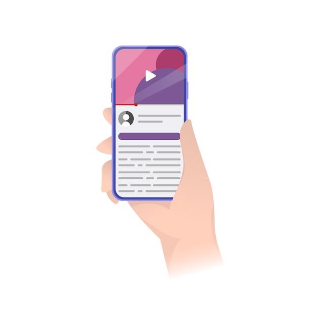 Interface D'application. Lecteur De Smartphone Pour Le Web. Téléphone, Interface Utilisateur De L'application De Lecteur Vidéo. Stock . Vecteur Premium