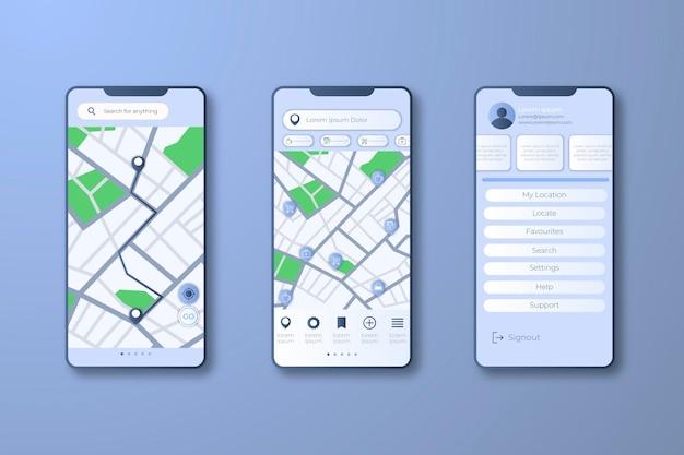 Interface De L'application De Localisation Vecteur Premium