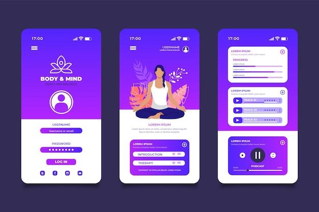 Interface De L'application De Méditation Vecteur gratuit
