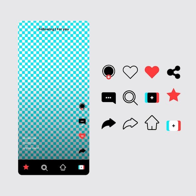 Interface De L'application Tiktok Et Collection D'icônes Vecteur gratuit