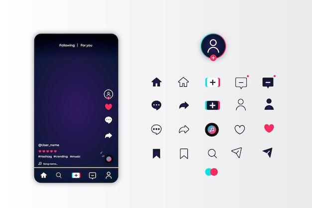 Interface De L'application Tiktok Et Jeu D'icônes Vecteur gratuit