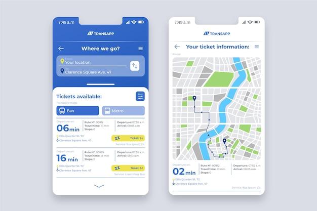 Interface De L'application De Transport Public Vecteur gratuit