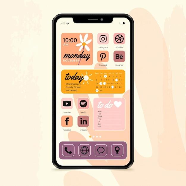 Interface D'écran D'accueil Pastel Vecteur gratuit