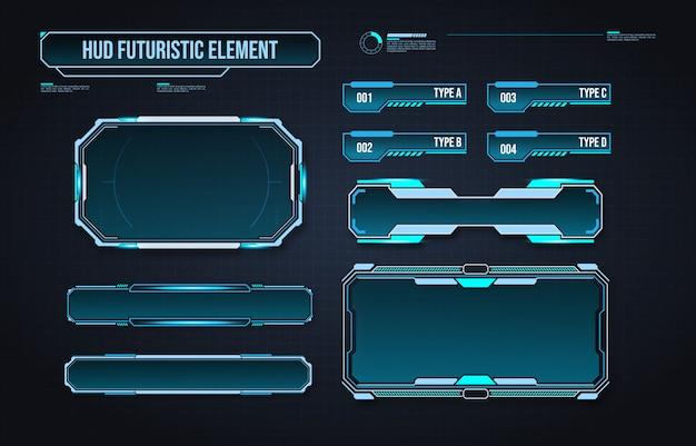 Interface D'élément Hud Futuriste. Interface Utilisateur Tactile Graphique Virtuelle Vecteur Premium