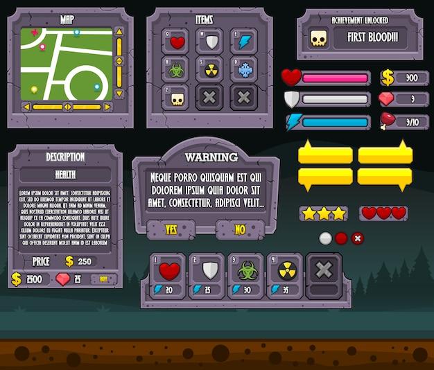 Interface graphique de jeu de cimetière Vecteur Premium