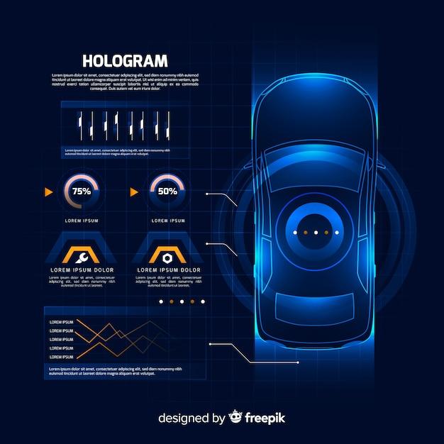 Interface holographique futuriste d'une voiture Vecteur gratuit