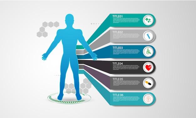 Interface hud interface virtuelle futur système de santé innovation Vecteur Premium