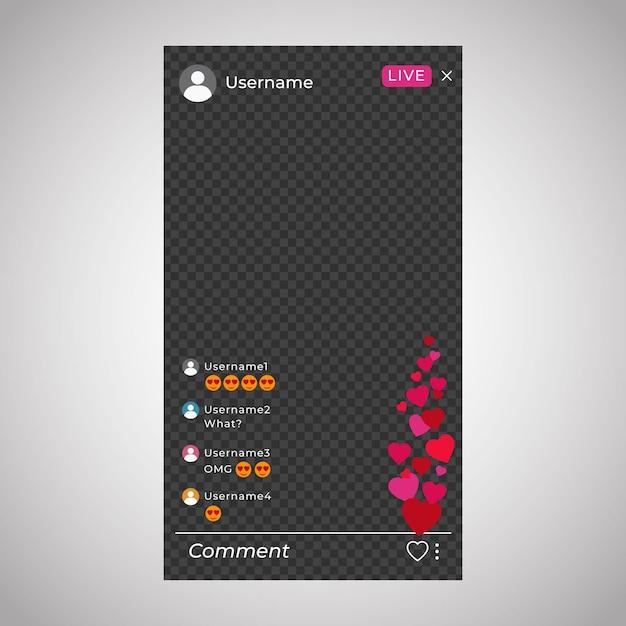 Interface Instagram De Diffusion En Direct Vecteur gratuit