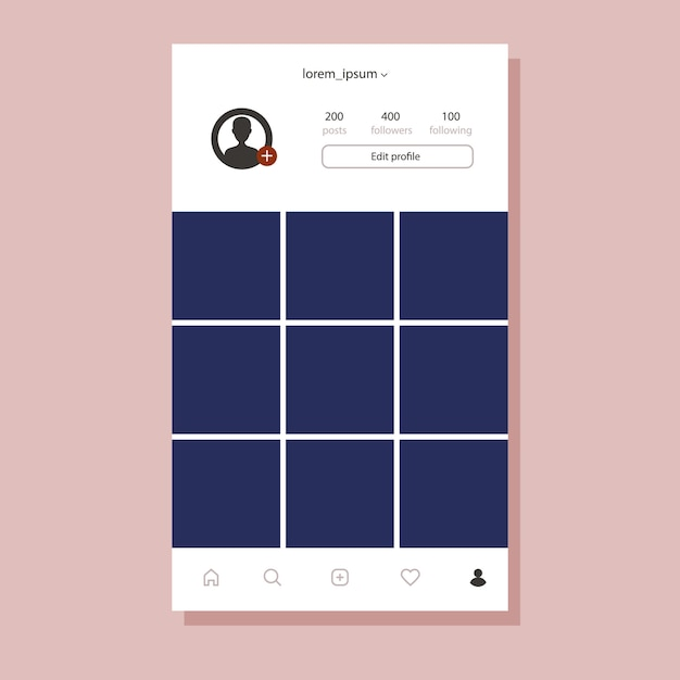 Interface Instagram Pour Application Mobile. Cadre Photo Design Plat Vecteur Premium