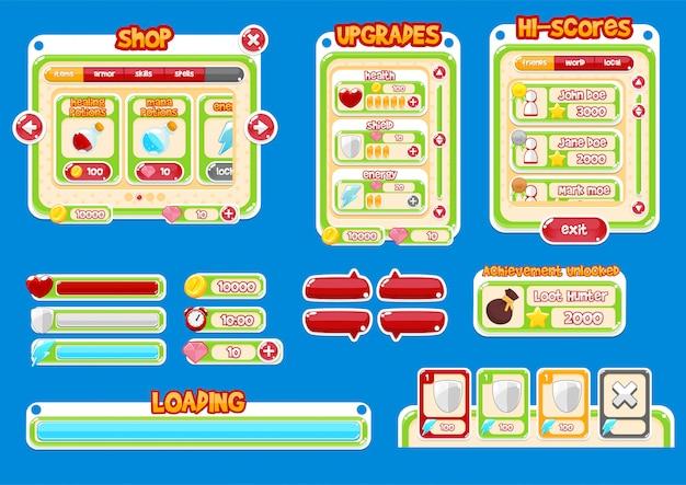 Interface de jeu occasionnel Vecteur Premium