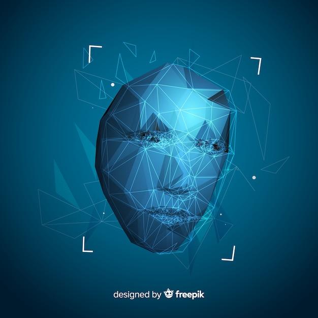 Interface logicielle abstraite de reconnaissance de visage Vecteur gratuit