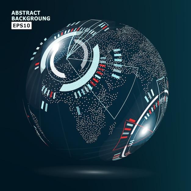 Interface de mondialisation futuriste Vecteur Premium