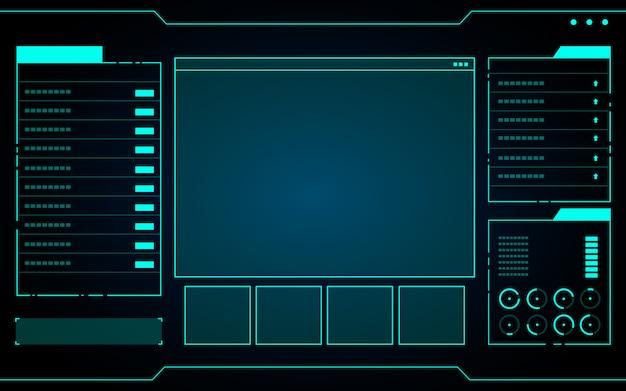 Interface de technologie abstraite bleue Vecteur Premium