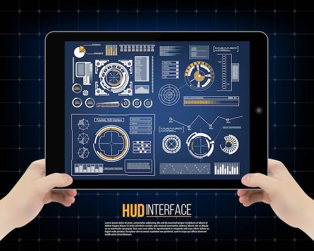 Interface de technologie futuriste fond d'interface utilisateur hud. Vecteur Premium