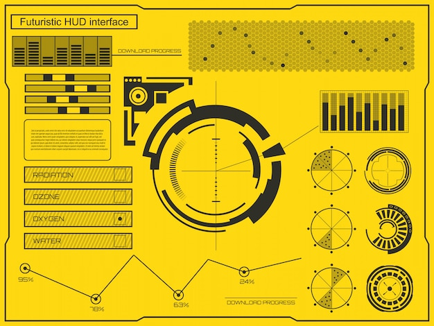 Interface de technologie futuriste fond d'interface utilisateur hud. Vecteur Premium