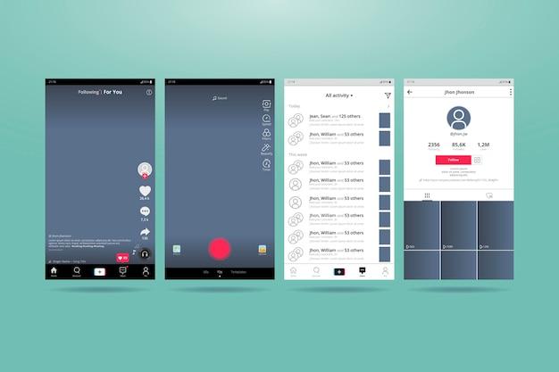 Interface Tiktok Pour Téléphones Mobiles Vecteur gratuit