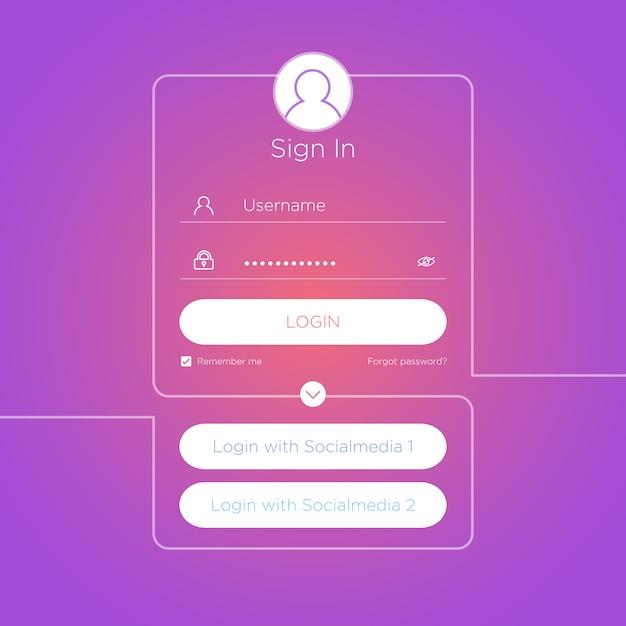Interface Utilisateur De Connexion Plate. Vecteur Premium