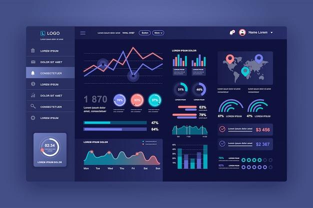 Interface Utilisateur Du Tableau De Bord. Modèle De Conception Du Panneau D'administration Avec Des éléments Infographiques Vecteur Premium