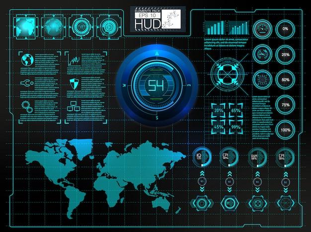 Interface utilisateur futuriste. espace extérieur hud. éléments infographiques. Vecteur Premium
